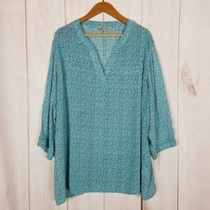 Anthro | Rose & Thyme Teal Print Tunic Blouse
